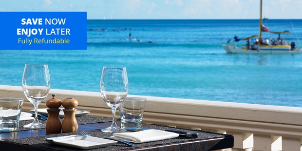 Take advantage of outdoor dining with Veranda at the Beachhouse. Save over 35% on breakfast for two and enjoy the oceanfront views [and] breeze flowing through the huge banyan tree in the courtyard (Gayot).