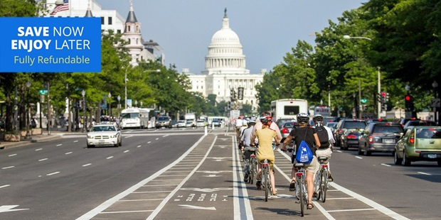 Bike among the historical sites of Washington, D.C., while saving up to 65% on bike rentals for one or two people.