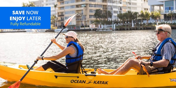 Discover the Venice of America by canal with a kayak or paddleboard rental or tour. Travelzoo members can save 30% with Blue Moon Outdoor Adventures.
