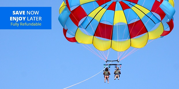 See California from hundreds of feet above the water during a parasailing ride for two with California Parasail from any of three locations across Los Angeles and Orange Counties.