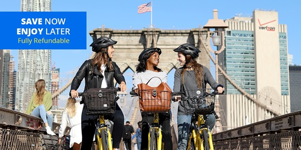 Plan a day outdoors exploring iconic New York City sites by bicycle with this offer that saves Travelzoo members more than 50% on rentals and tours through the end of the year.