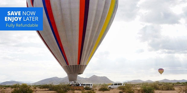 Float high above the Sonoran Desert with a sunrise flight from Arizona Balloon Safaris, named a Best Hot Air Balloon Ride in the country by USA Today 10Best.