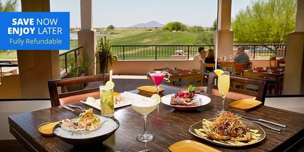 Indoor dining is back at the Fairmont Scottsdale Princess. Enjoy Sunday brunch, dinner with cocktails or even happy hour at celebrity chef Richard Sandoval's pan-Latin restaurant Toro -- overlooking the 18th hole from the TPC Clubhouse.