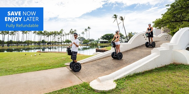 Save over 30% on a guided Segway tour of Honolulu and explore its rich history while cruising along the city's scenic routes.