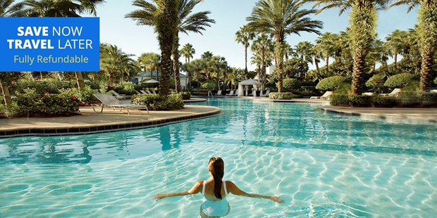 Unwind at the Spa at Orlando World Center Marriott — just 2 miles from Disney World — then take a dip in the resort's lagoon pool, all while saving over 40%.