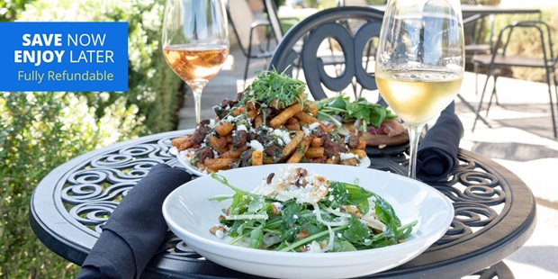 Create your own date night indoors with takeout credits from Oak Mountain Winery's Cave Cafe. Travelzoo members can use the credit for anything on the menu, including wine.