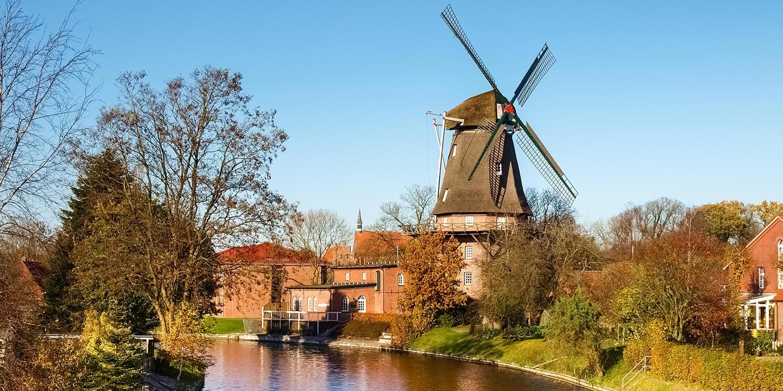 Windmühle der Gemeinde Hinte im Landkreis Aurich
