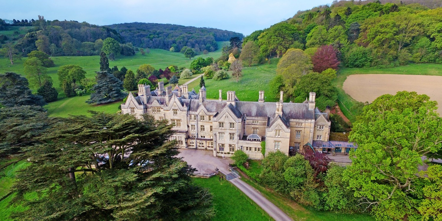 Aerial view of Dumbleton Hall Hotel