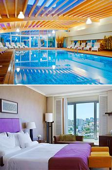 Arriba: Spa del hotel<br>Abajo: Habitación 'Club Suite'
