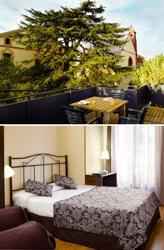 Arriba: terraza del hotel<br>Abajo: habitación doble