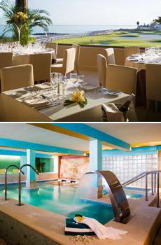 Arriba: Vista desde el restaurante <br>Abajo: Spa del Hotel Guadalmina