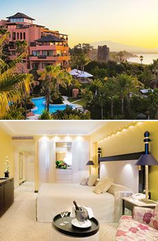 Arriba: Vista del hotel<br>Abajo: Garden View Room