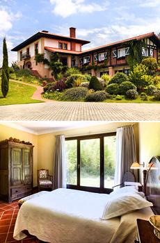 Arriba: Vista exterior del Hotel Ibarra<br>Abajo: Habitación doble
