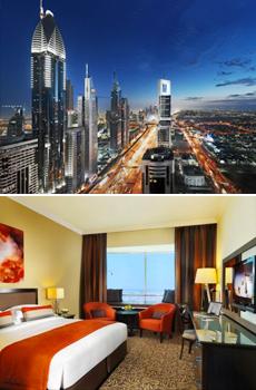 En haut : vue de Dubaï.<br>En bas : chambre classique du Towers Rotana 4*.