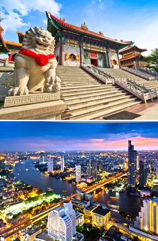 Arriba: Pekín<br>Abajo: Bangkok