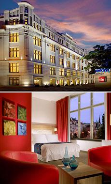 Arriba: Exterior del hotel<br>Abajo: Habitación Business Friendly