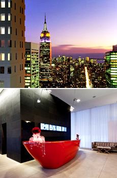 Haut : gratte-ciel de New York<br>Bas : hall de l'hôtel