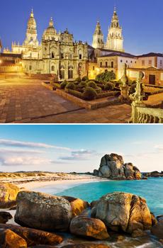 Arriba: Catredral de Santiago<br>Abajo: Playas de Pedras Neg